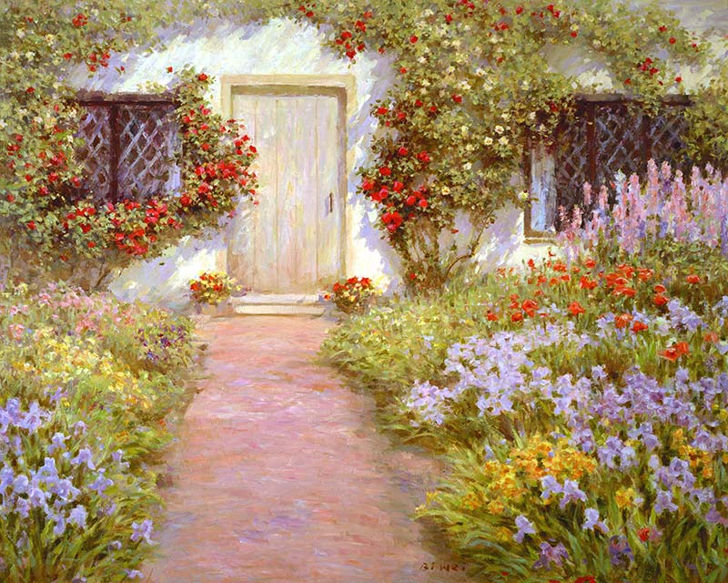 Canvas Print Painting Titled English Cottage By The Artist Bi Wei Liang Tronolone