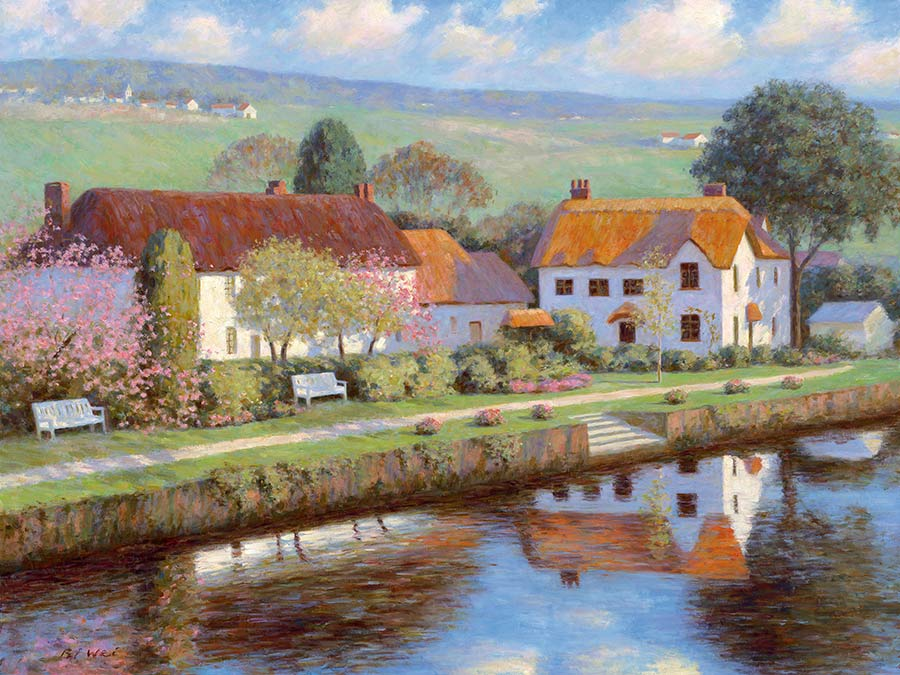 Canvas Print Painting Titled English Countryside By The Artist Bi Wei Liang Tronolone